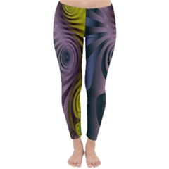 Fractal In Purple Gold And Green Classic Winter Leggings