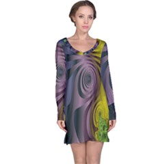 Fractal In Purple Gold And Green Long Sleeve Nightdress