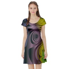 Fractal In Purple Gold And Green Short Sleeve Skater Dress