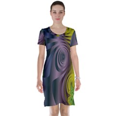 Fractal In Purple Gold And Green Short Sleeve Nightdress