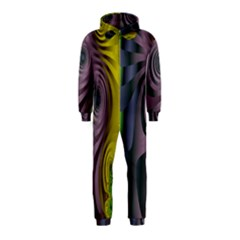 Fractal In Purple Gold And Green Hooded Jumpsuit (kids)
