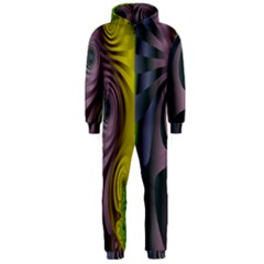 Fractal In Purple Gold And Green Hooded Jumpsuit (Men)