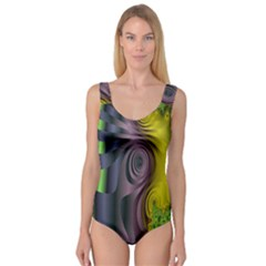 Fractal In Purple Gold And Green Princess Tank Leotard