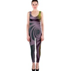 Fractal In Purple Gold And Green OnePiece Catsuit