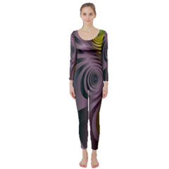 Fractal In Purple Gold And Green Long Sleeve Catsuit