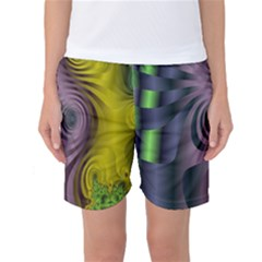 Fractal In Purple Gold And Green Women s Basketball Shorts
