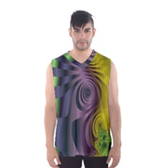 Fractal In Purple Gold And Green Men s Basketball Tank Top