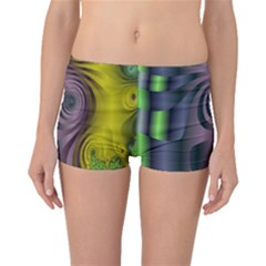 Fractal In Purple Gold And Green Boyleg Bikini Bottoms