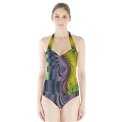 Fractal In Purple Gold And Green Halter Swimsuit