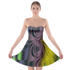 Fractal In Purple Gold And Green Strapless Bra Top Dress