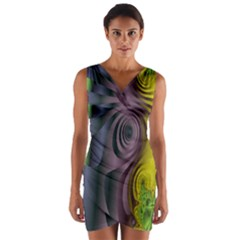 Fractal In Purple Gold And Green Wrap Front Bodycon Dress