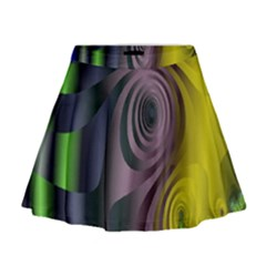 Fractal In Purple Gold And Green Mini Flare Skirt