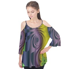 Fractal In Purple Gold And Green Flutter Tees