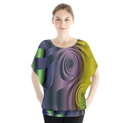 Fractal In Purple Gold And Green Blouse