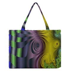 Fractal In Purple Gold And Green Medium Zipper Tote Bag