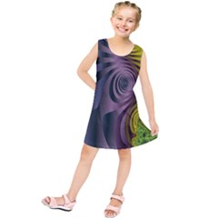 Fractal In Purple Gold And Green Kids  Tunic Dress