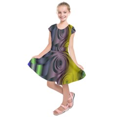 Fractal In Purple Gold And Green Kids  Short Sleeve Dress