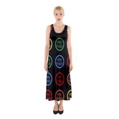 Happy Birthday Colorful Wallpaper Background Sleeveless Maxi Dress