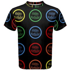 Happy Birthday Colorful Wallpaper Background Men s Cotton Tee