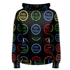 Happy Birthday Colorful Wallpaper Background Women s Pullover Hoodie