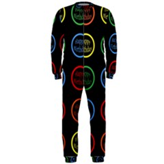 Happy Birthday Colorful Wallpaper Background OnePiece Jumpsuit (Men)
