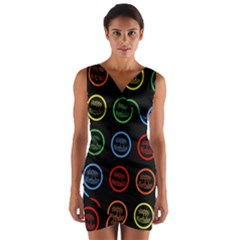 Happy Birthday Colorful Wallpaper Background Wrap Front Bodycon Dress