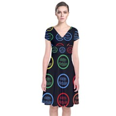 Happy Birthday Colorful Wallpaper Background Short Sleeve Front Wrap Dress