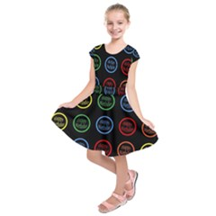 Happy Birthday Colorful Wallpaper Background Kids  Short Sleeve Dress