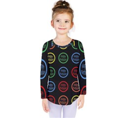 Happy Birthday Colorful Wallpaper Background Kids  Long Sleeve Tee