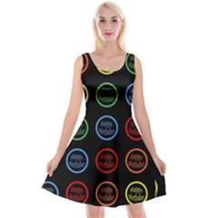 Happy Birthday Colorful Wallpaper Background Reversible Velvet Sleeveless Dress