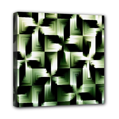 Green Black And White Abstract Background Of Squares Mini Canvas 8  X 8