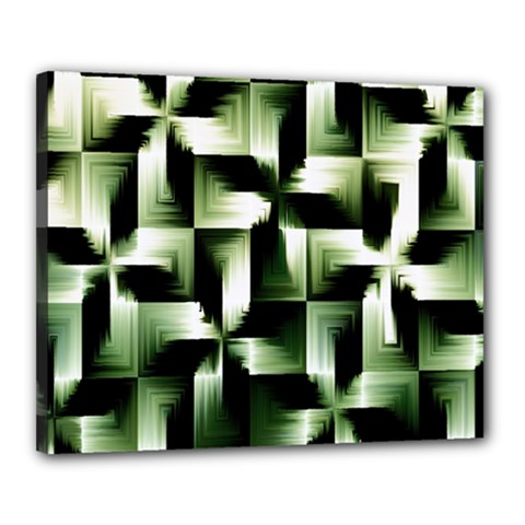 Green Black And White Abstract Background Of Squares Canvas 20  X 16