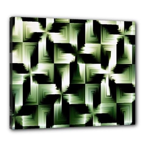 Green Black And White Abstract Background Of Squares Canvas 24  X 20