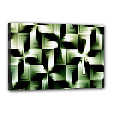 Green Black And White Abstract Background Of Squares Canvas 18  X 12