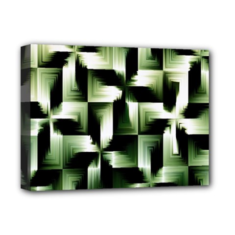 Green Black And White Abstract Background Of Squares Deluxe Canvas 16  x 12