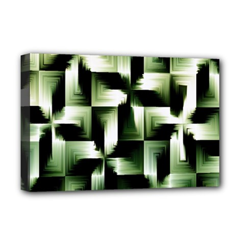 Green Black And White Abstract Background Of Squares Deluxe Canvas 18  X 12
