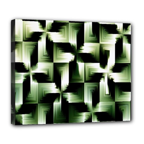 Green Black And White Abstract Background Of Squares Deluxe Canvas 24  X 20