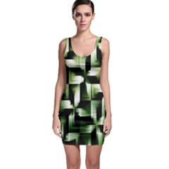 Green Black And White Abstract Background Of Squares Sleeveless Bodycon Dress