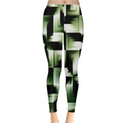 Green Black And White Abstract Background Of Squares Leggings