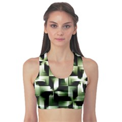 Green Black And White Abstract Background Of Squares Sports Bra