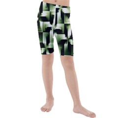 Green Black And White Abstract Background Of Squares Kids  Mid Length Swim Shorts