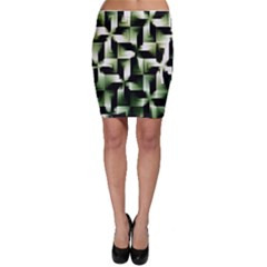 Green Black And White Abstract Background Of Squares Bodycon Skirt