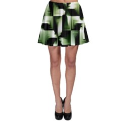 Green Black And White Abstract Background Of Squares Skater Skirt