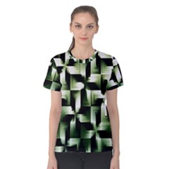 Green Black And White Abstract Background Of Squares Women s Cotton Tee