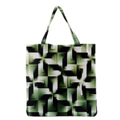 Green Black And White Abstract Background Of Squares Grocery Tote Bag