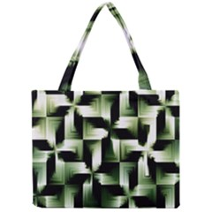 Green Black And White Abstract Background Of Squares Mini Tote Bag