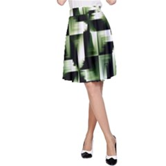 Green Black And White Abstract Background Of Squares A-Line Skirt