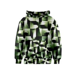 Green Black And White Abstract Background Of Squares Kids  Pullover Hoodie