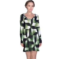Green Black And White Abstract Background Of Squares Long Sleeve Nightdress