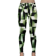 Green Black And White Abstract Background Of Squares Classic Yoga Leggings